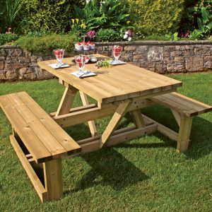 Ashby picnic table in garden setting