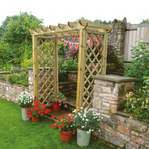 Cotswold arch in a garden setting