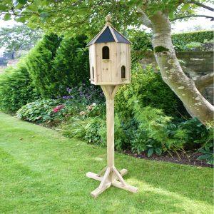 Dovecote bird table in garden