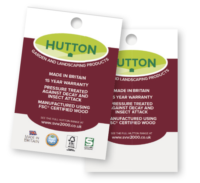 Hutton product swing tags