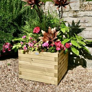 Wooden square planter