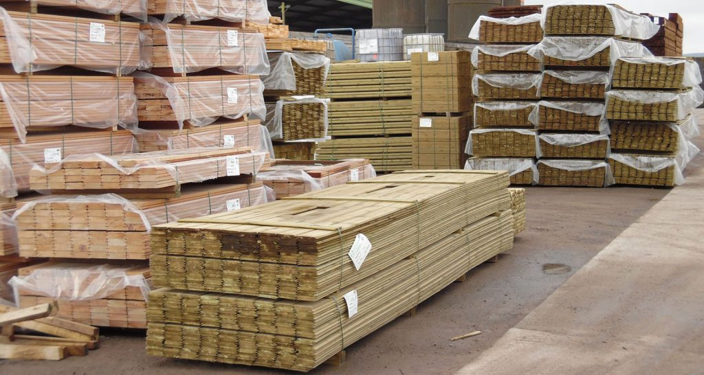 Treated timber stock in timber yard