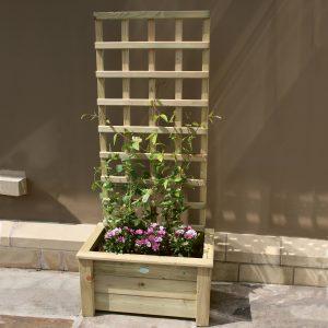 Wooden trellis planter