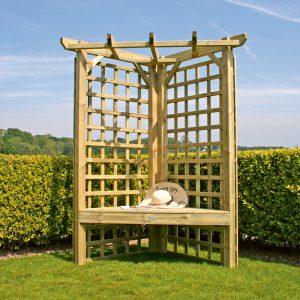 Wooden trellis corner arbour