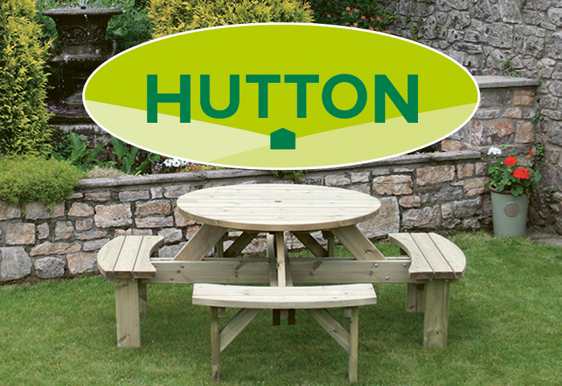 Hutton brand and round picnic table in the garden